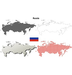 Russia outline map set vector