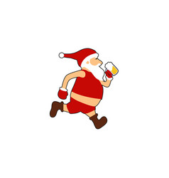 santa run beer logo vector image