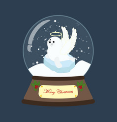 seal in christmas costume in snowball vector image