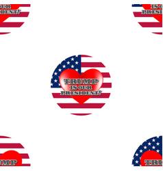 Seamless pattern flag usa red heart trump vector