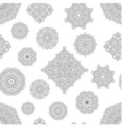 Seamless pattern from black and white mandalas vector