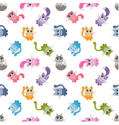 seamless pattern with cute colorful cartoon cats vector image