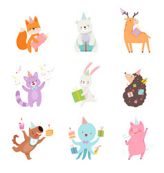 Set cartoon animals with gifts vector