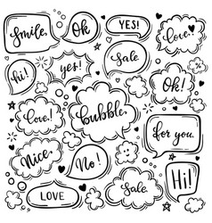 set hand drawn sketch speak bubbles vector image