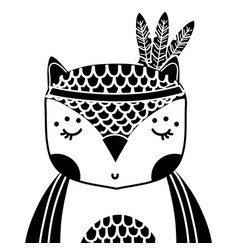 Silhouette cute owl animal with feathers vector