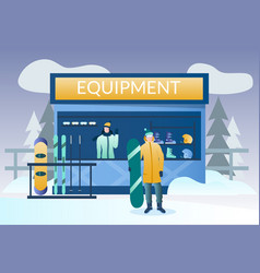 Ski and snowboard rental concept for web vector