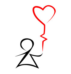 Stick figure kid holding heart shaped balloon vector