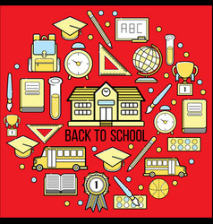 stock of school icon web set vector image