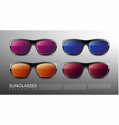 stylish modern colored sunglasses set vector image