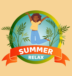 summer relax banner inscription tropical vector image