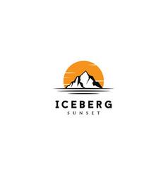 sunset sunrise floating iceberg ice mountain logo vector image