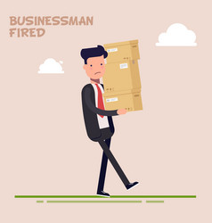 Tired businessman or manager carries heavy boxes vector