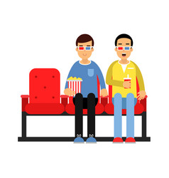 two friends sitting in the cinema and watching 3d vector image