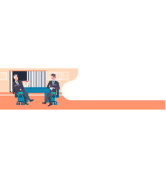 two male security guard workers discussing men in vector image