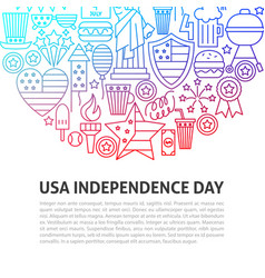 usa independence day line concept vector image