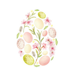 watercolor postcard with easter decoration vector image