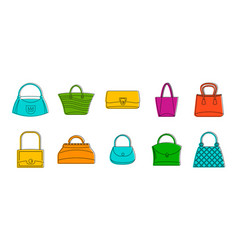 woman bag icon set color outline style vector image