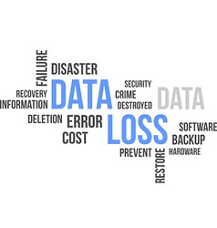 word cloud data loss vector image