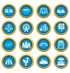 amusement park icons blue circle set vector image
