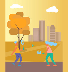 couple playing badminton on vector image vector image