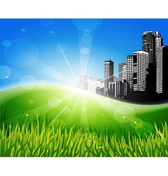 Meadow with sunlight and city at the background vector image