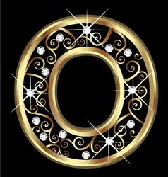 O gold letter with swirly ornaments vector image