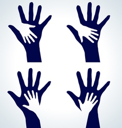 set of hands silhouette vector image