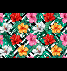 tropical leaves hibiscus seamless pattern vector image vector image
