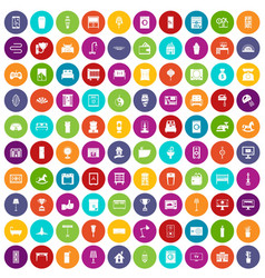 100 interior icons set color vector image vector image