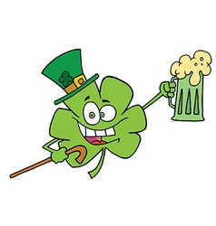 Clover Character In A Green Hat vector image vector image