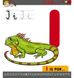 letter i with cartoon iguana vector image vector image