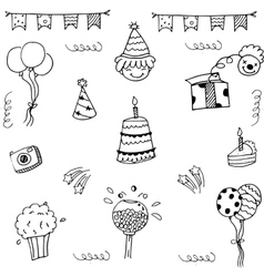 Set birthday party doodle vector