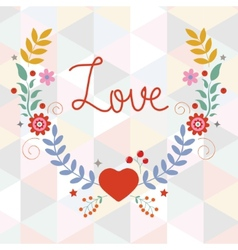 Valentines day card with floral wreath vector image