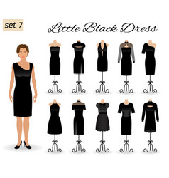 woman model character dressed in little black vector image vector image