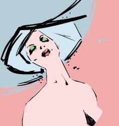 beautiful fashion model ink sketch vector image vector image