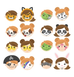 kids faces Face painting for kids vector image vector image