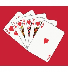 royal flush hearts vector image
