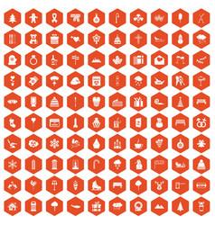 100 winter holidays icons hexagon orange vector image vector image