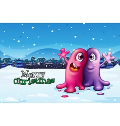 A christmas card design with two monsters vector image vector image
