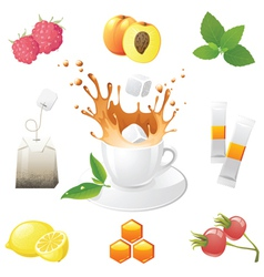 highly detailed tea icons set vector image