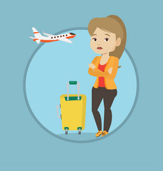 young woman suffering from fear of flying vector image