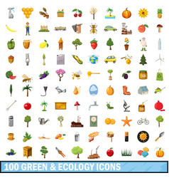 100 green ecology icons set cartoon style vector