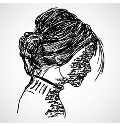 A sketch girl with words written on her vector