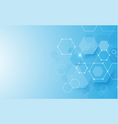 abstract blue geometric hexagon background vector image