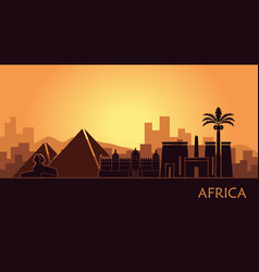 abstract landscape with the sights of africa at vector image