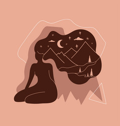 abstract with long hair woman silhouette mountain vector image