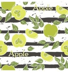 Apples on dark gray stripes vector