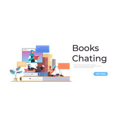 Arabic students reading and chatting books vector