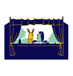 Artist performing puppet show with hand toys in vector