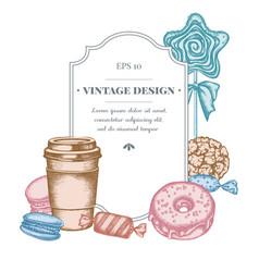 badge design with pastel macaron candies paper vector image